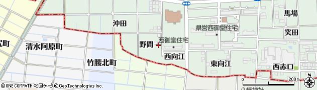 愛知県一宮市萩原町西御堂(野間)周辺の地図