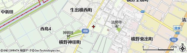 愛知県稲沢市横野西郷町周辺の地図
