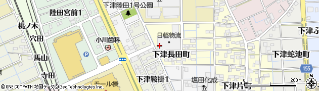 愛知県稲沢市下津長田町周辺の地図