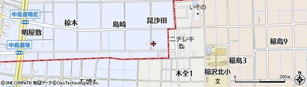 愛知県一宮市萩原町中島(昆沙田)周辺の地図