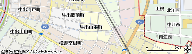愛知県稲沢市生出山田町周辺の地図