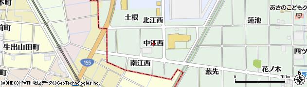 愛知県一宮市萩原町西御堂(中江西)周辺の地図