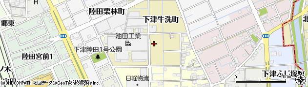愛知県稲沢市下津牛洗町周辺の地図