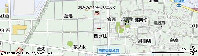 愛知県一宮市萩原町西御堂(四ツ辻)周辺の地図