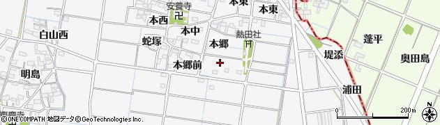 愛知県稲沢市祖父江町山崎(本郷)周辺の地図