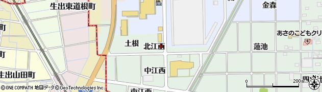 愛知県一宮市萩原町西御堂(北江西)周辺の地図