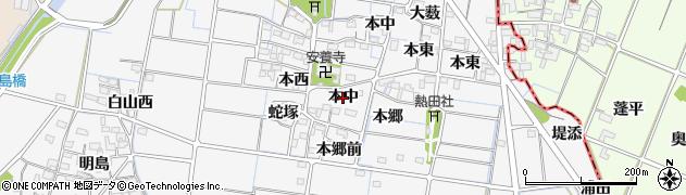愛知県稲沢市祖父江町山崎(本中)周辺の地図