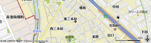 愛知県一宮市丹陽町九日市場(東三本松)周辺の地図