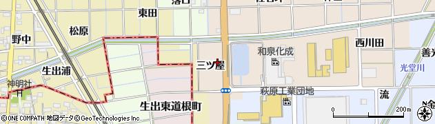 愛知県一宮市萩原町高木(三ツ屋)周辺の地図
