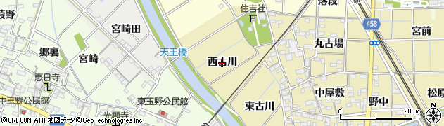 愛知県一宮市萩原町築込(西古川)周辺の地図