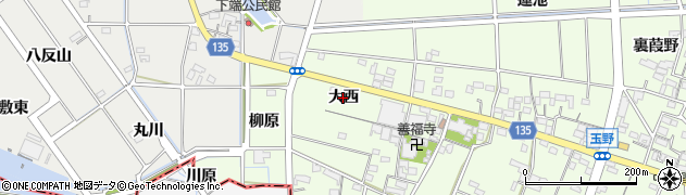 愛知県一宮市玉野(大西)周辺の地図