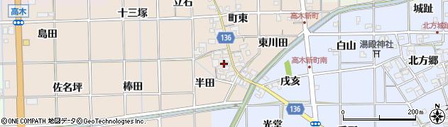 愛知県一宮市萩原町高木(半田)周辺の地図