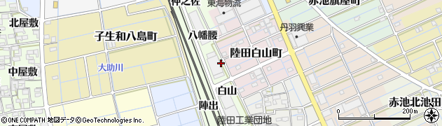 愛知県稲沢市陸田町(八幡)周辺の地図
