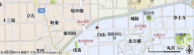 愛知県一宮市萩原町中島(白山)周辺の地図