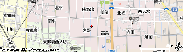 愛知県一宮市萩原町滝周辺の地図