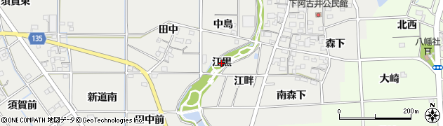 愛知県一宮市明地(江黒)周辺の地図