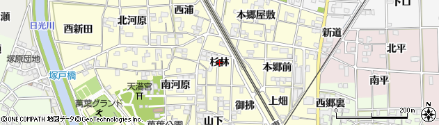 愛知県一宮市萩原町戸苅(杉林)周辺の地図