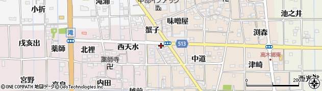 愛知県一宮市萩原町高木(蟹子)周辺の地図