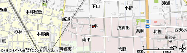 愛知県一宮市萩原町滝(北平)周辺の地図