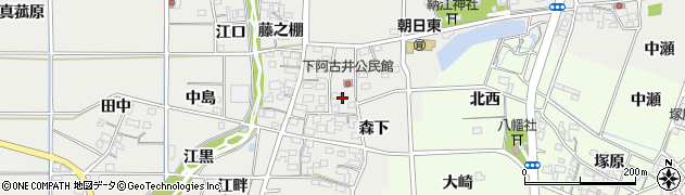 愛知県一宮市明地(北森下)周辺の地図