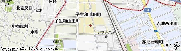 愛知県稲沢市子生和池田町周辺の地図