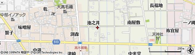 愛知県一宮市萩原町西宮重(池之井)周辺の地図