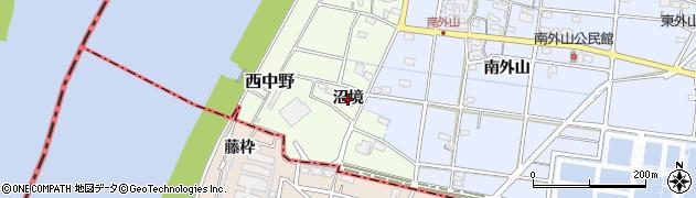 愛知県一宮市西中野(沼境)周辺の地図