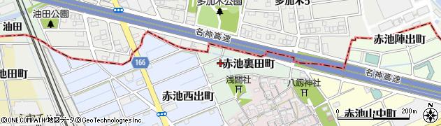 愛知県稲沢市赤池裏田町周辺の地図