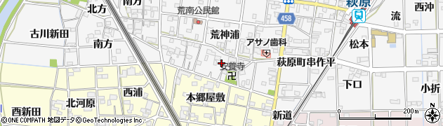 愛知県一宮市萩原町串作(荒神)周辺の地図