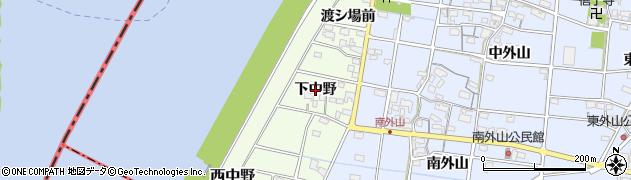 愛知県一宮市西中野(下中野)周辺の地図