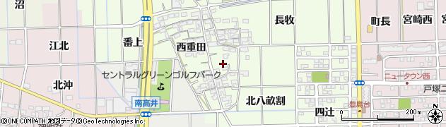 愛知県一宮市大和町北高井(東重田)周辺の地図