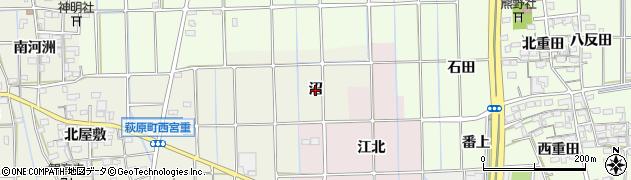 愛知県一宮市萩原町西宮重(沼)周辺の地図