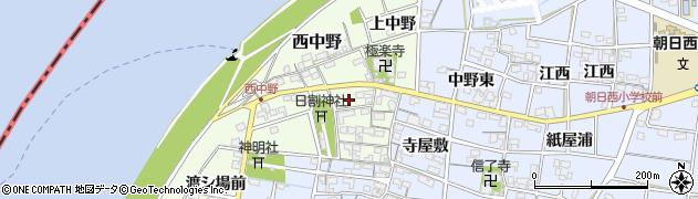 愛知県一宮市西中野周辺の地図