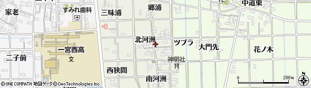 愛知県一宮市萩原町河田方(北河洲)周辺の地図