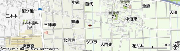 愛知県一宮市萩原町林野(ツブラ)周辺の地図
