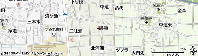 愛知県一宮市萩原町河田方(郷浦)周辺の地図