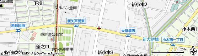 愛知県小牧市新小木周辺の地図