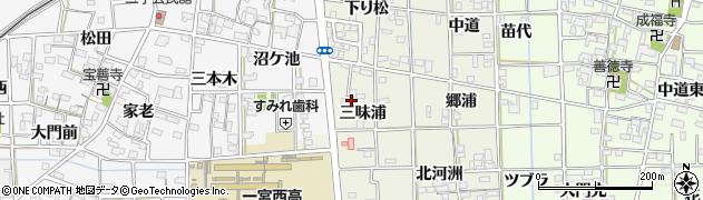 愛知県一宮市萩原町河田方(三味浦)周辺の地図