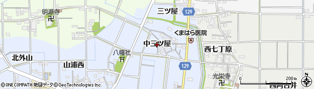 愛知県一宮市上祖父江(中三ツ屋)周辺の地図