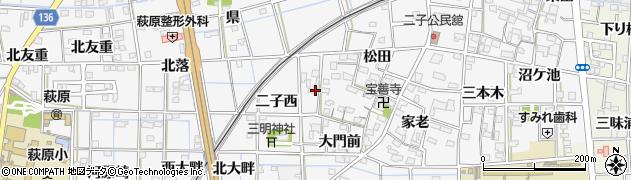 愛知県一宮市萩原町萩原(二子西)周辺の地図