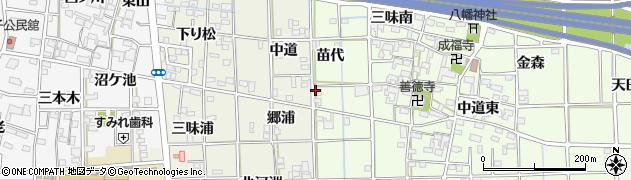 愛知県一宮市萩原町林野(苗代)周辺の地図