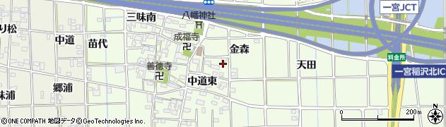 愛知県一宮市萩原町林野(金森)周辺の地図