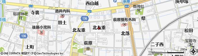 愛知県一宮市萩原町萩原(北友重)周辺の地図