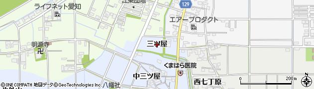 愛知県一宮市上祖父江(三ツ屋)周辺の地図