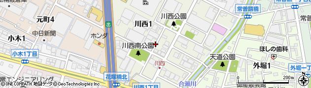 愛知県小牧市川西周辺の地図