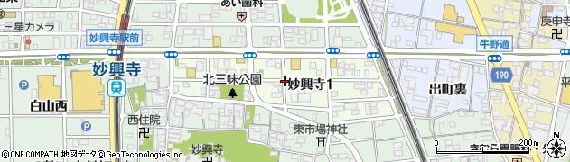 愛知県一宮市妙興寺周辺の地図