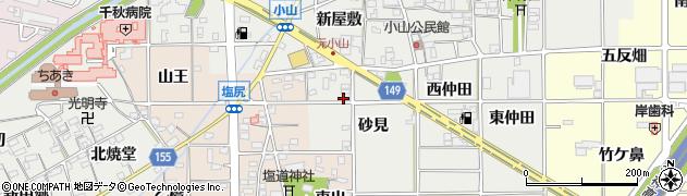 愛知県一宮市千秋町小山(砂見)周辺の地図