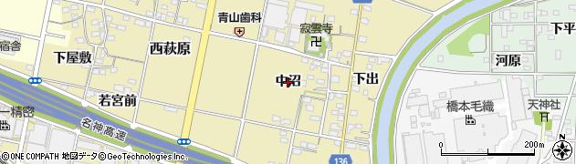 愛知県一宮市西萩原(中沼)周辺の地図