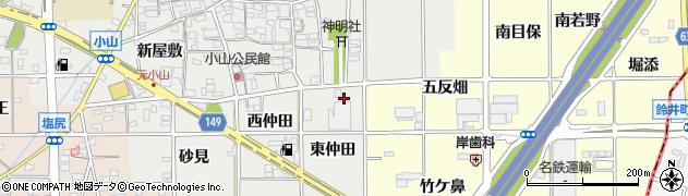 愛知県一宮市千秋町小山(東仲田)周辺の地図