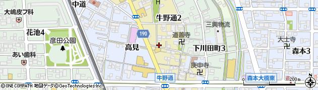 愛知県一宮市牛野通周辺の地図
